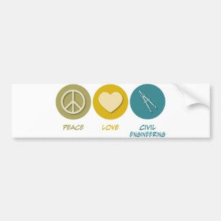 Peace Love Civil Engineering Bumper Sticker