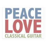 Peace Love Classical Guitar Post Card