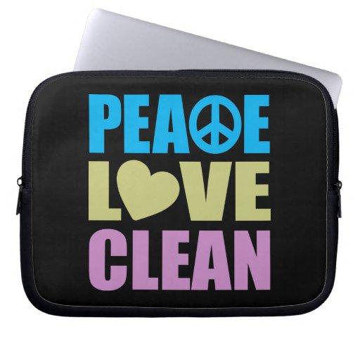 Peace Love Clean Laptop Computer Sleeve