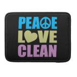 Peace Love Clean MacBook Pro Sleeves