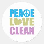 Peace Love Clean Round Sticker