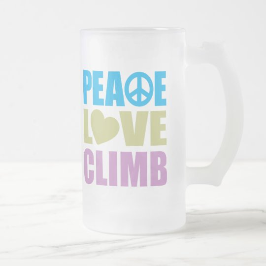 Peace Love Climb Frosted Glass Beer Mug