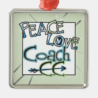 PEACE LOVE COACH CC - Cross Country Metal Ornament