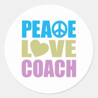 Peace Love Coach Round Stickers