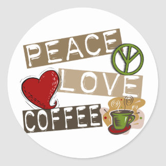 PEACE LOVE COFFEE 2 CLASSIC ROUND STICKER