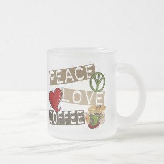 PEACE LOVE COFFEE 2 FROSTED GLASS COFFEE MUG