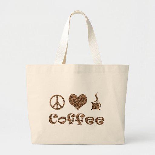PEACE LOVE COFFEE CANVAS BAGS