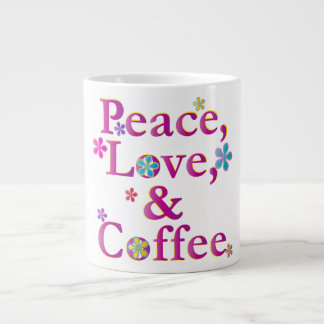 Peace Love & Coffee Giant Coffee Mug