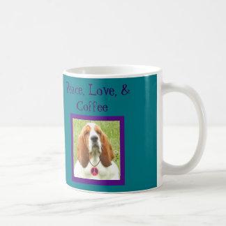 Peace, Love, & Coffee Mug w/Hippy Basset Hound