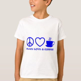 PEACE LOVE & COFFEE PICTURES BLUE T-Shirt