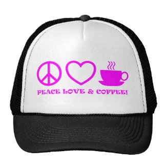 PEACE LOVE & COFFEE PICTURES PINK CAP