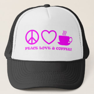 PEACE LOVE & COFFEE PICTURES PINK TRUCKER HAT