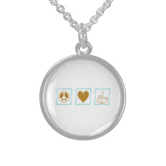 Peace Love Coffee Squares Sterling Silver Necklace