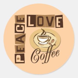 PEACE LOVE COFFEE ROUND STICKER