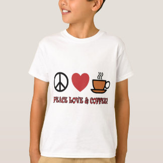 PEACE LOVE COFFEE SYMBOLS AND TEXT MUTED COLOURS T-Shirt