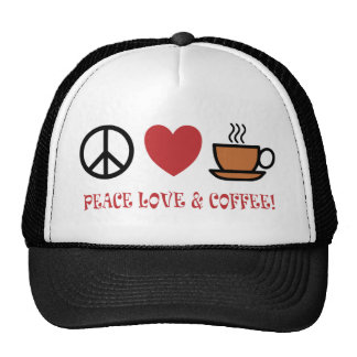 PEACE LOVE COFFEE SYMBOLS AND TEXT MUTED COLOURS TRUCKER HAT