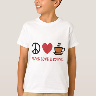 PEACE LOVE COFFEE SYMBOLS AND TEXT MUTED COLOURS W T-Shirt