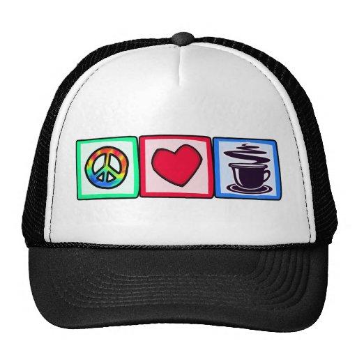 Peace, Love, Coffee Trucker Hat