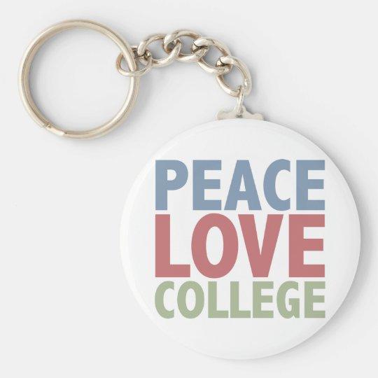 Peace Love College Keychain
