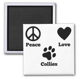 Peace Love Collies 2 Inch Square Magnet