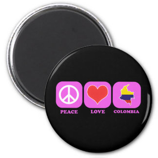 Peace Love Colombia 2 Inch Round Magnet