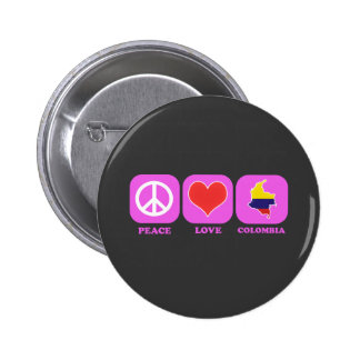 Peace Love Colombia 2 Inch Round Button