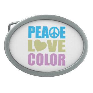 Peace Love Color Oval Belt Buckle