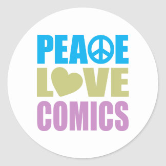 Peace Love Comics Classic Round Sticker