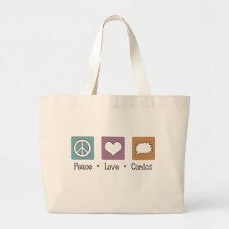 Peace Love Comics Large Tote Bag