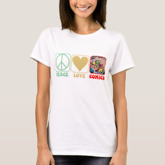 """Peace, Love, Comics"" Shirt"
