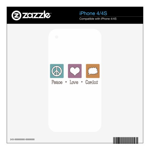 Peace Love Comics Decals For The iPhone 4