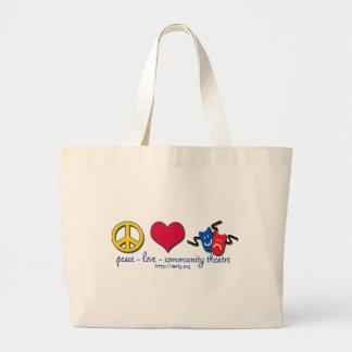 Peace Love Community Theatre Canvas Bags