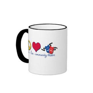 Peace Love Community Theatre Coffee Mug