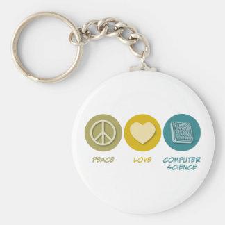Peace Love Computer Science Keychain