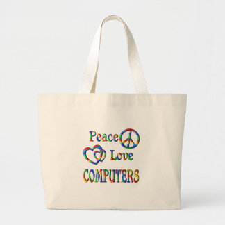Peace Love COMPUTERS Jumbo Tote Bag