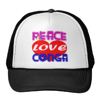 Peace Love conga Trucker Hat
