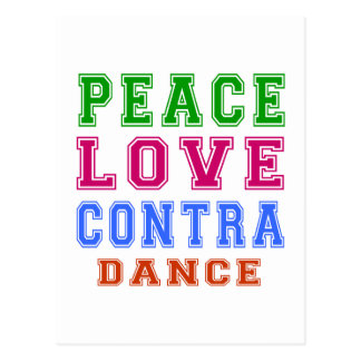 Peace Love Contra Dancing Postcard
