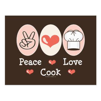 Peace Love Cook Postcard