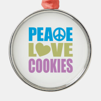 Peace Love Cookies Round Metal Christmas Ornament