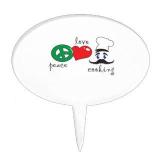 PEACE LOVE COOKING CAKE PICKS
