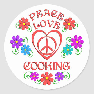Peace Love Cooking Classic Round Sticker