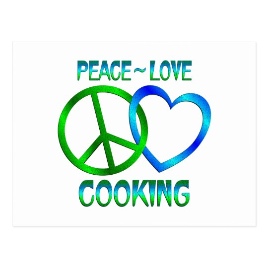 Peace Love COOKING Postcard