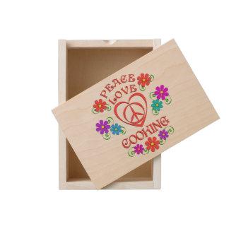 Peace Love Cooking Wooden Keepsake Box
