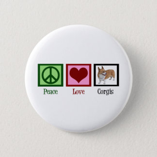 Peace Love Corgi Photograph Pinback Button