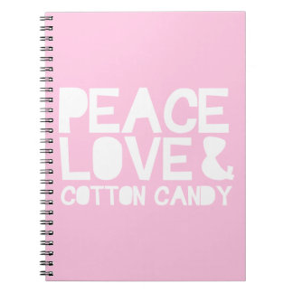 Peace Love & Cotton Candy Spiral Note Books