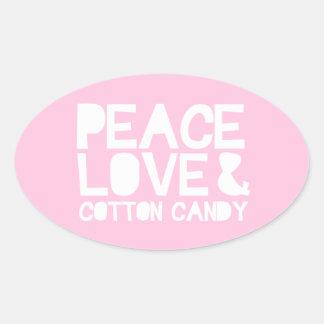 Peace Love & Cotton Candy Oval Sticker
