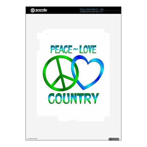 Peace - Love Country Decals For iPad 2