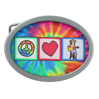 Peace, Love, Country Music Oval Belt Buckle