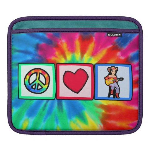 Peace, Love, Country Music iPad Sleeve