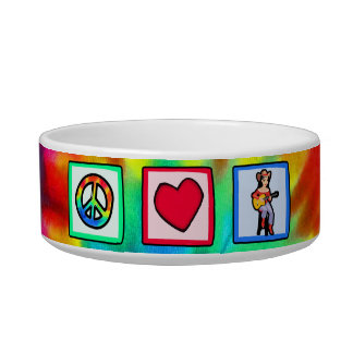 Peace, Love, Country Music Pet Food Bowl